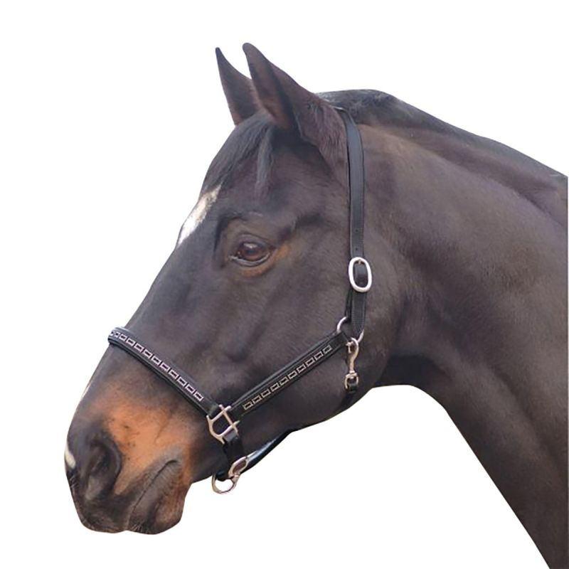 COTTAGE CRAFT HEADCOLLAR LEATHER CRYSTAL BLACK
