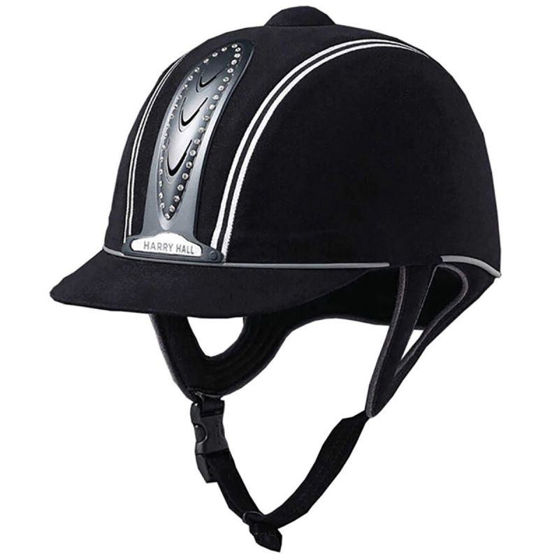 ADULT HARRY HALL LEGEND CRYSTAL PLUS RIDING HAT IN BLACK