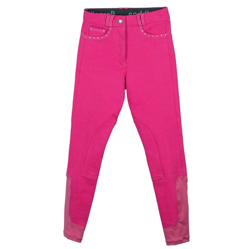 SADDLECRAFT BREECHES CONTRAST SPARKLY CHILD PINK