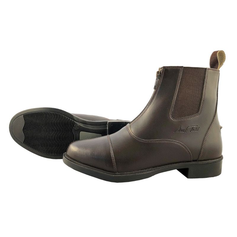 MARK TODD JODHPUR BOOTS SYNTHETIC FRONT ZIP BROWN